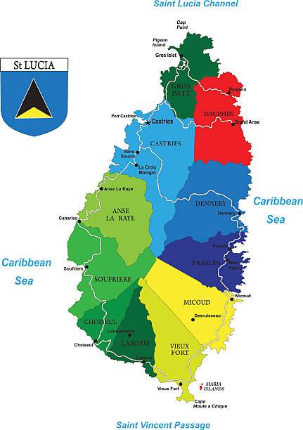 bildbanksillustrationer, clip art samt tecknat material och ikoner med political map of the caribbean island-saint lucia - saint lucia