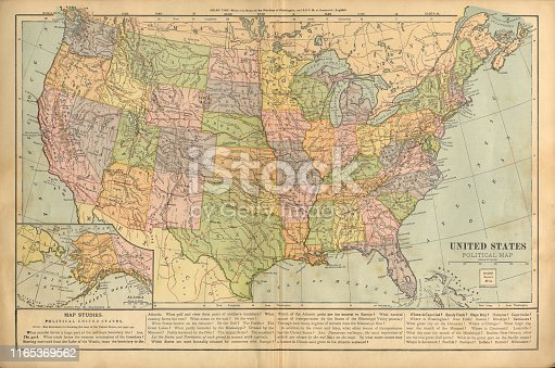 Very Rare, Beautifully Illustrated Antique Victorian Engraved Colored Map of The Political Map of the United States of America, Published in 1899. Source: Original edition from my own archives. Copyright has expired on this artwork. Digitally restored.