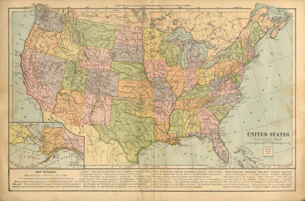 ilustraciones, imágenes clip art, dibujos animados e iconos de stock de mapa político de los estados unidos de américa antiguo mapa de color grabado victoriano, 1899 - mapas vintage