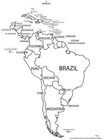 Political South America Map In Black And White Stock Illustration ...