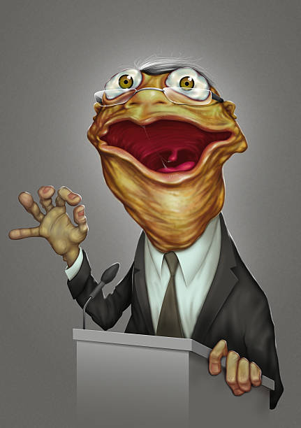 politician boring frog face - old man funny pictures stock illustrations, clip art, cartoons, & icons