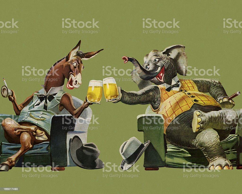 Politicians Having a Beer vector art illustration