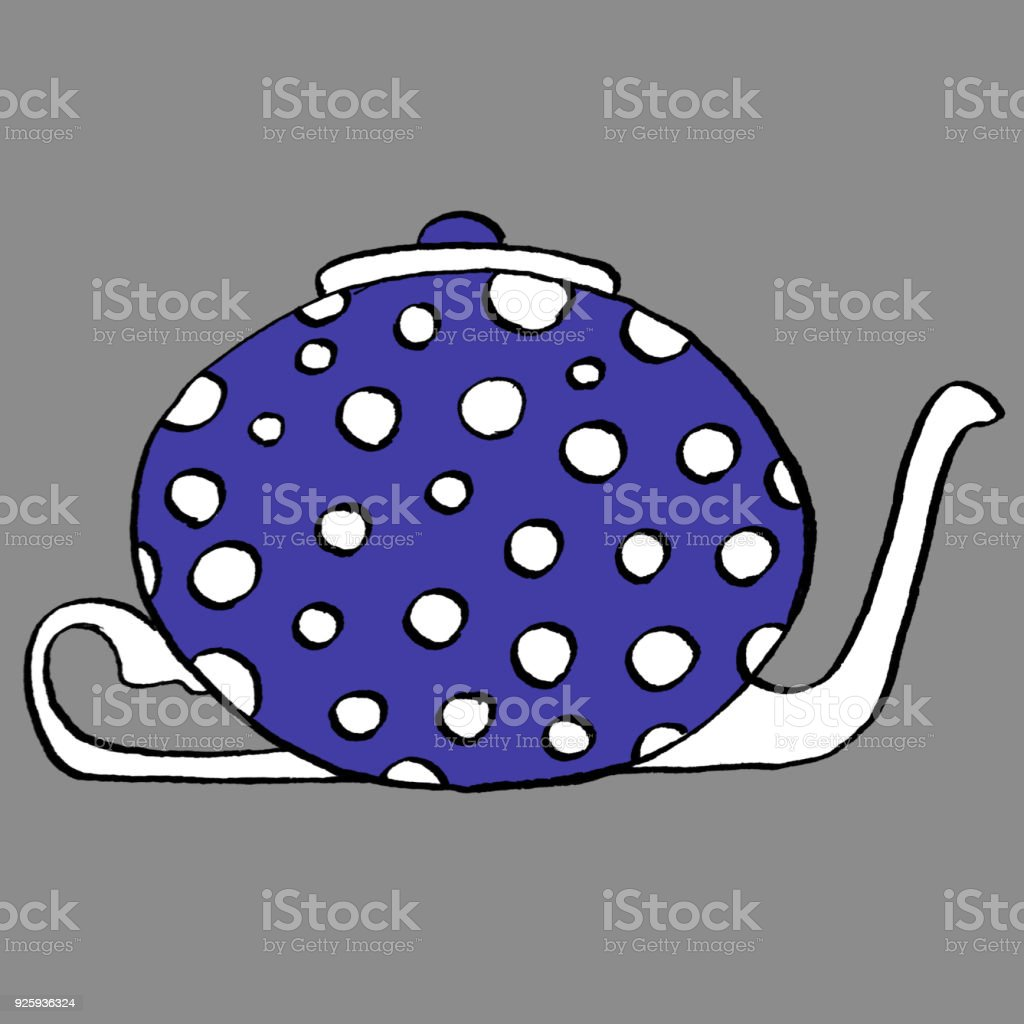 Polka-dot Teapot vector art illustration