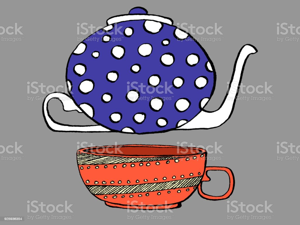 Polkadots and Stripes Tea Set vector art illustration
