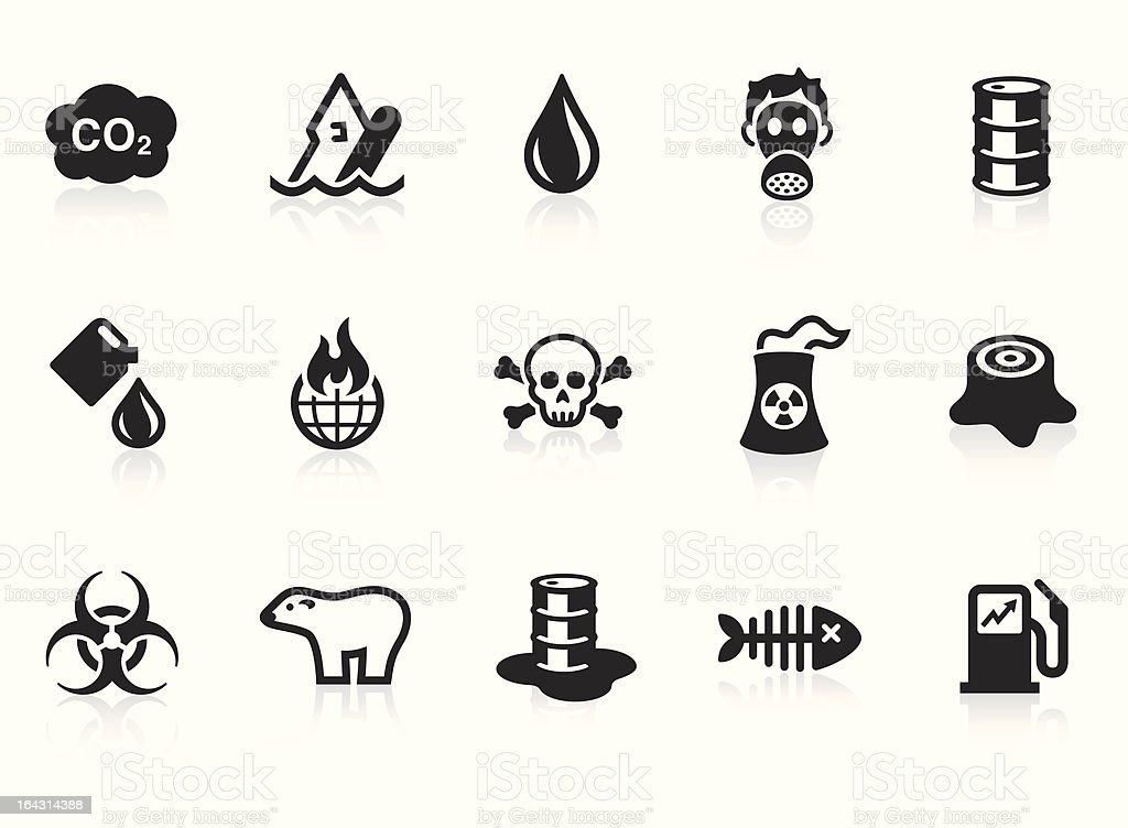 Pollution icons vector art illustration