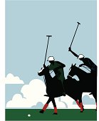 Stylized vector illustration of two men playing polo.