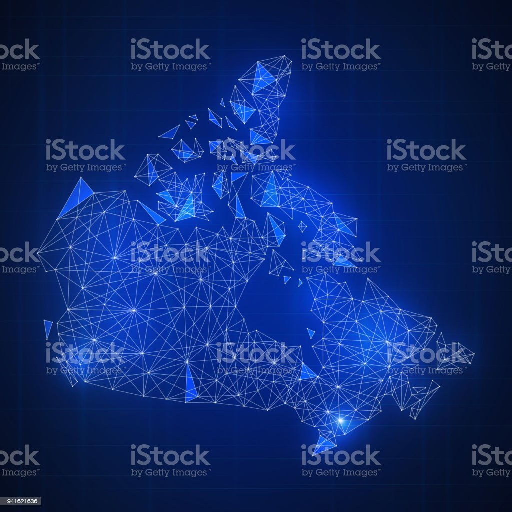 Polygon Canada map with blockchain technology peer to peer network on...