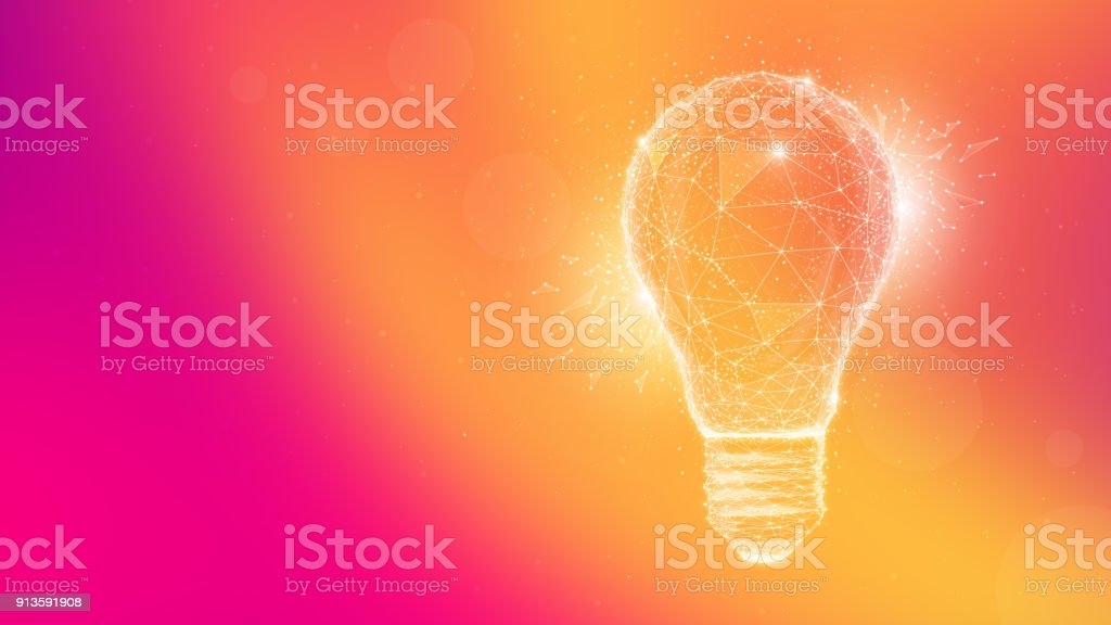 Polygon idea light bulb on multicolored background vector art illustration