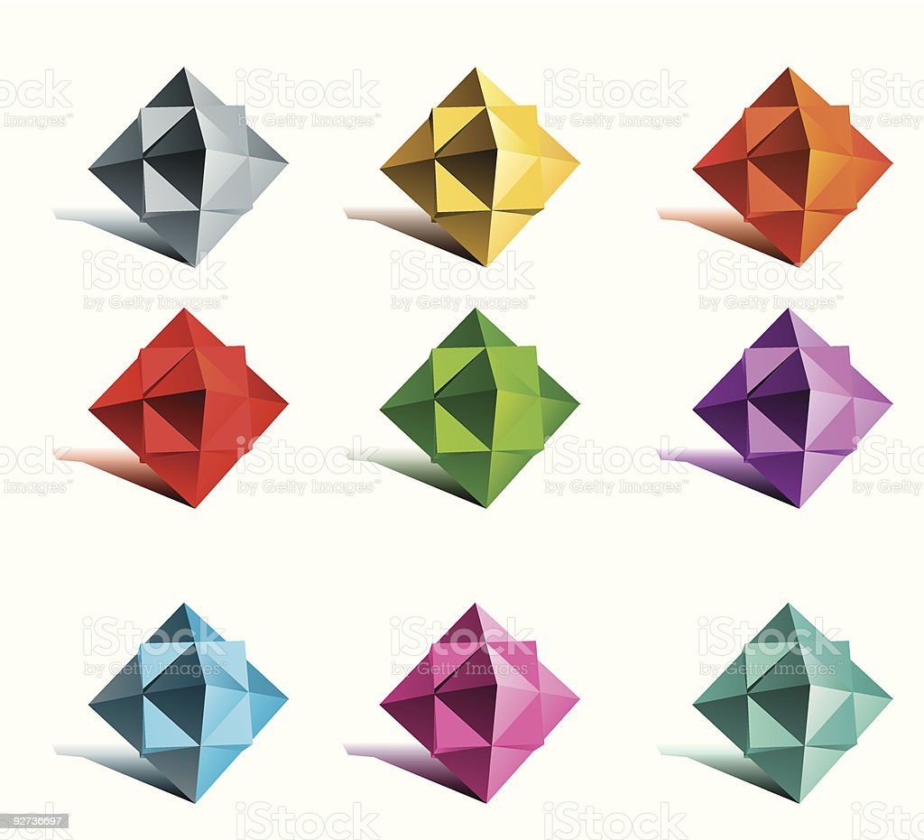 polygon stars of different colors set royalty-free stock vector art