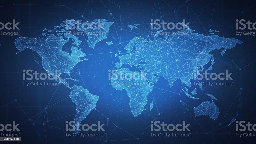 Polygon world map on blockchain hud banner vector art illustration