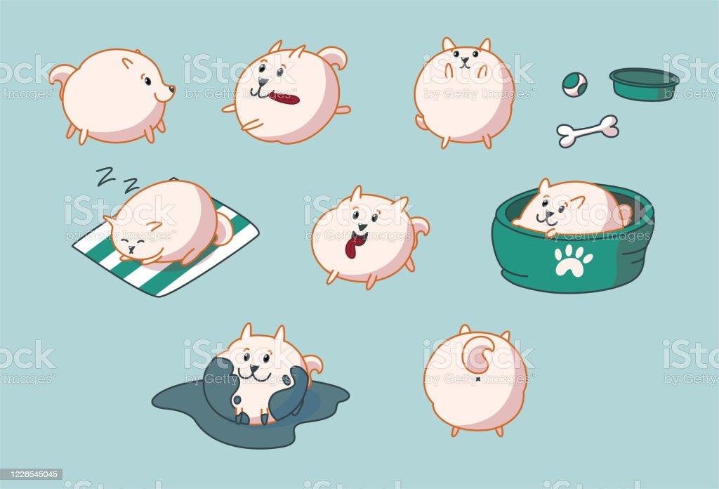 Pomeranian Puppy Set Vector Illustration Stock Illustration Download Image Now Istock