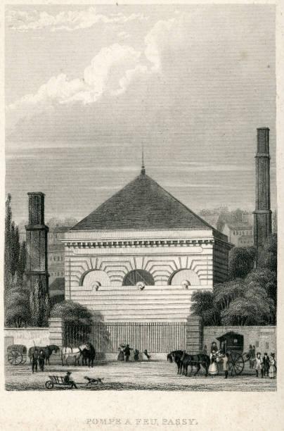 "Pompe A Feu, Passy, Paris, France ""Vintage engraving from 1849 showing the Pompe A Feu, Passy, Paris, France"" feu stock illustrations"
