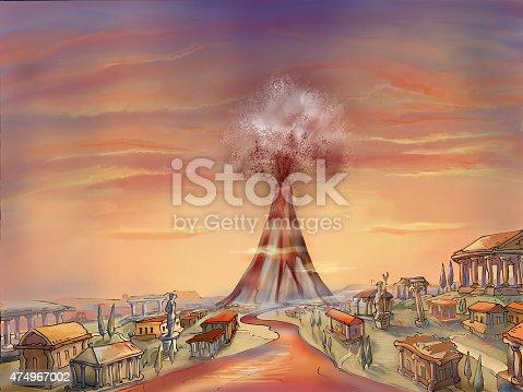 Illustration of a volcanic eruption at Pompeii.