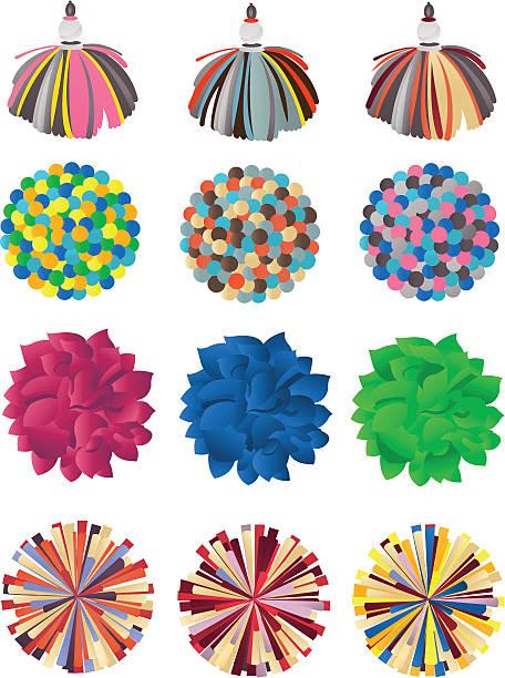 stockillustraties, clipart, cartoons en iconen met pompons - pompon
