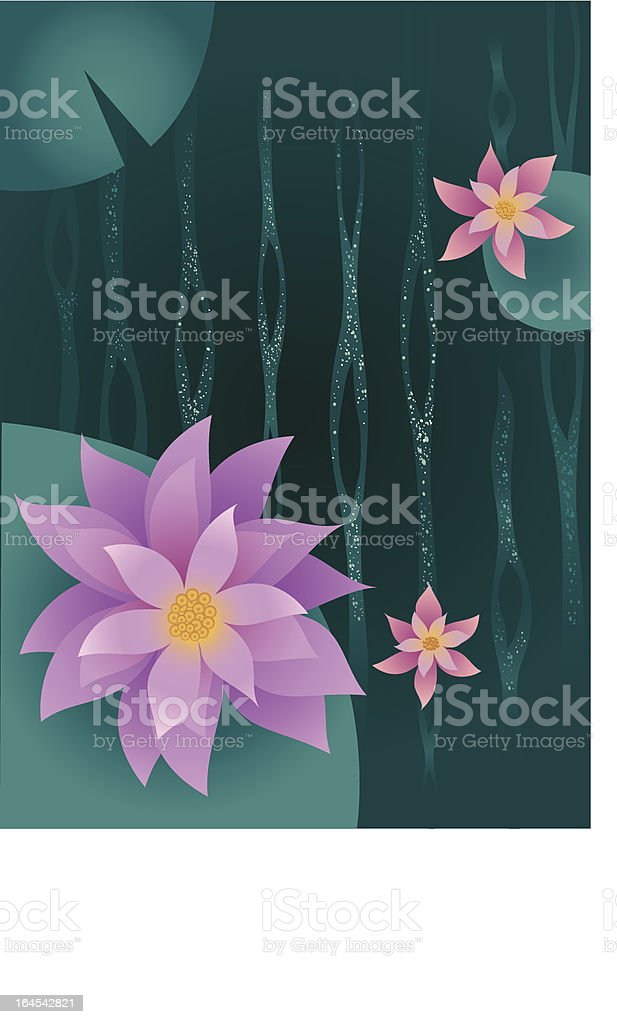 Pond with Lilies and Lilypads royalty-free pond with lilies and lilypads stock vector art & more images of botany