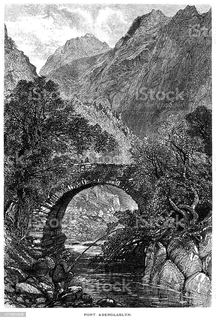 Pont Aberglaslyn, Wales vector art illustration