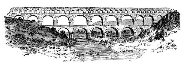 stockillustraties, clipart, cartoons en iconen met pont du gard, oude romeinse aquaduct - pont du gard