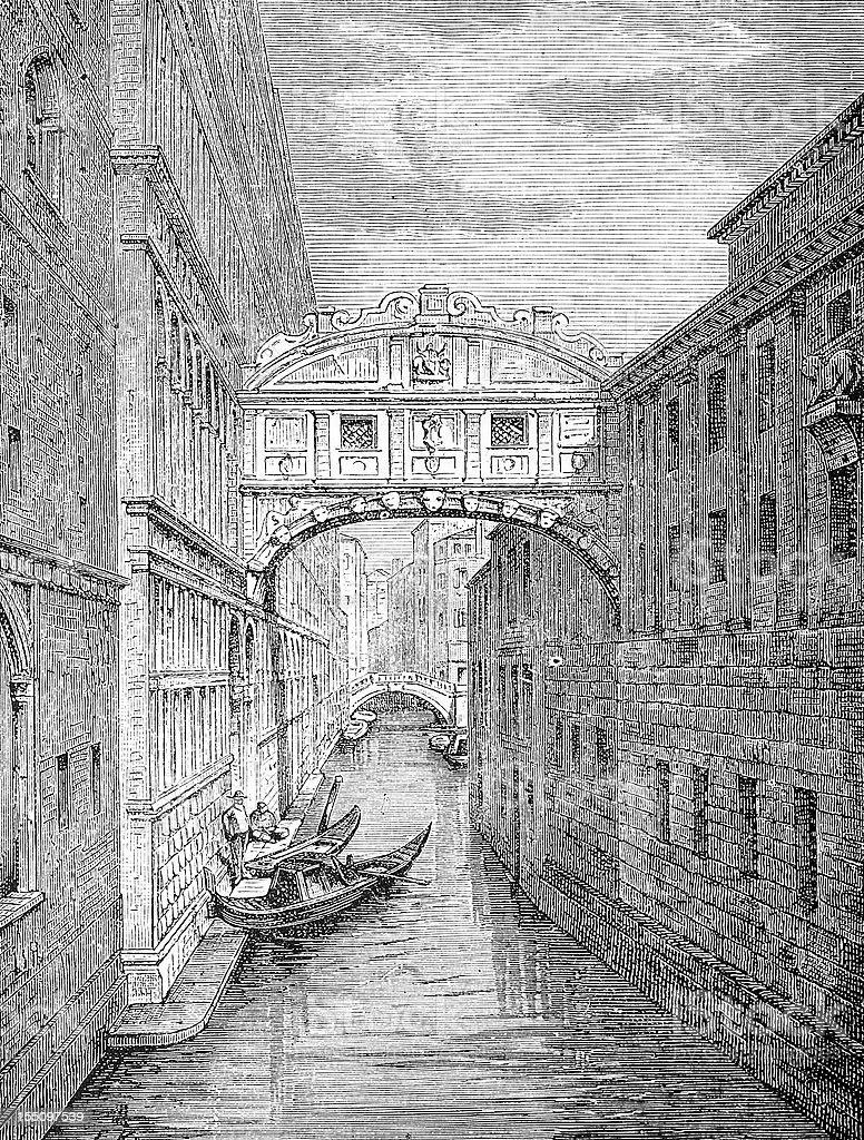 Ponte dei Sospiri (Bridge of Sighs), Venice royalty-free stock vector art