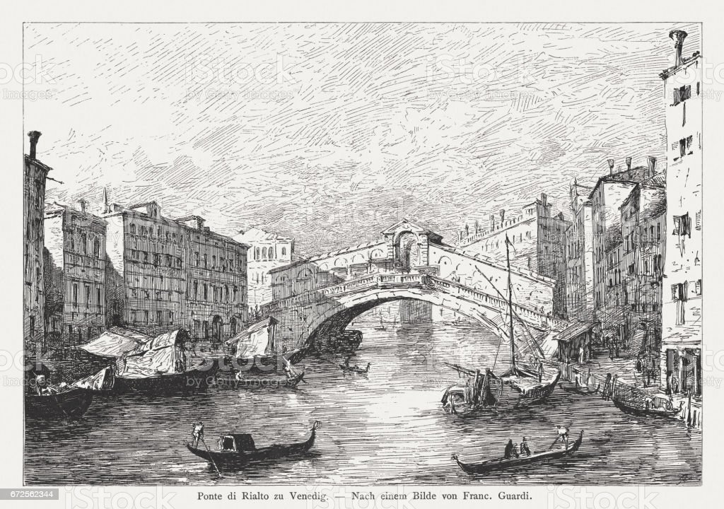 Ponte di Rialto in Venice, painted (1780) by Francesco Guardi vector art illustration