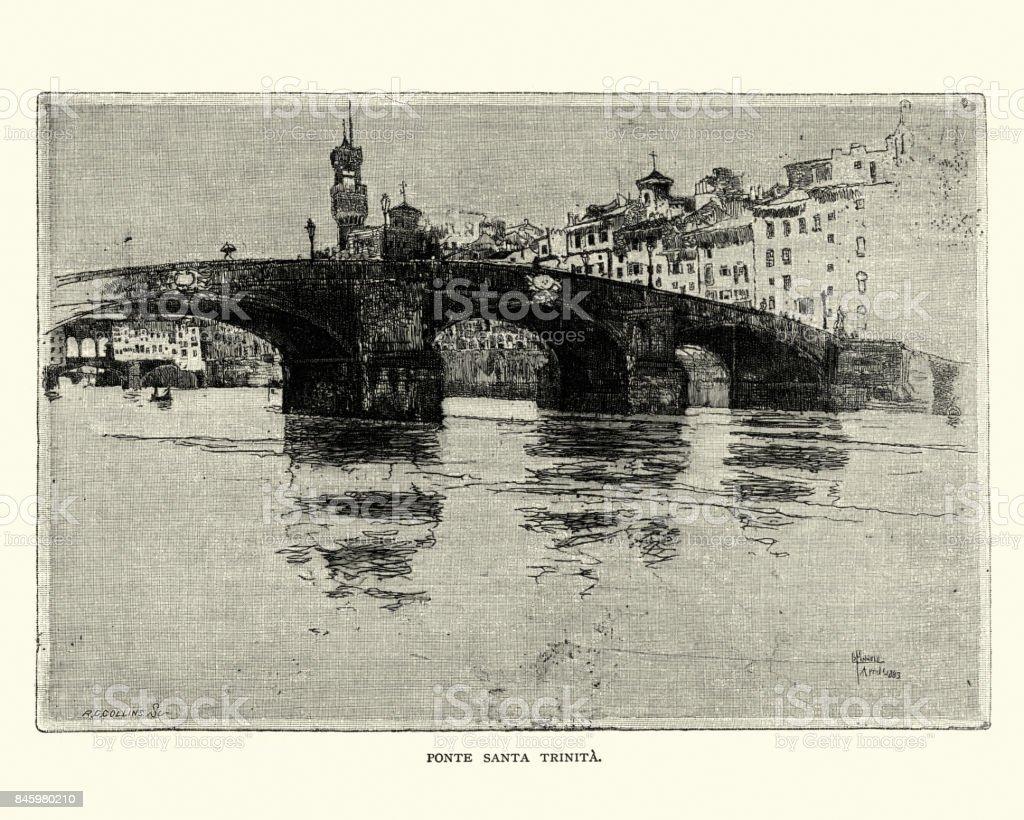 Ponte Santa Trinita, Florence, 19th Century vector art illustration