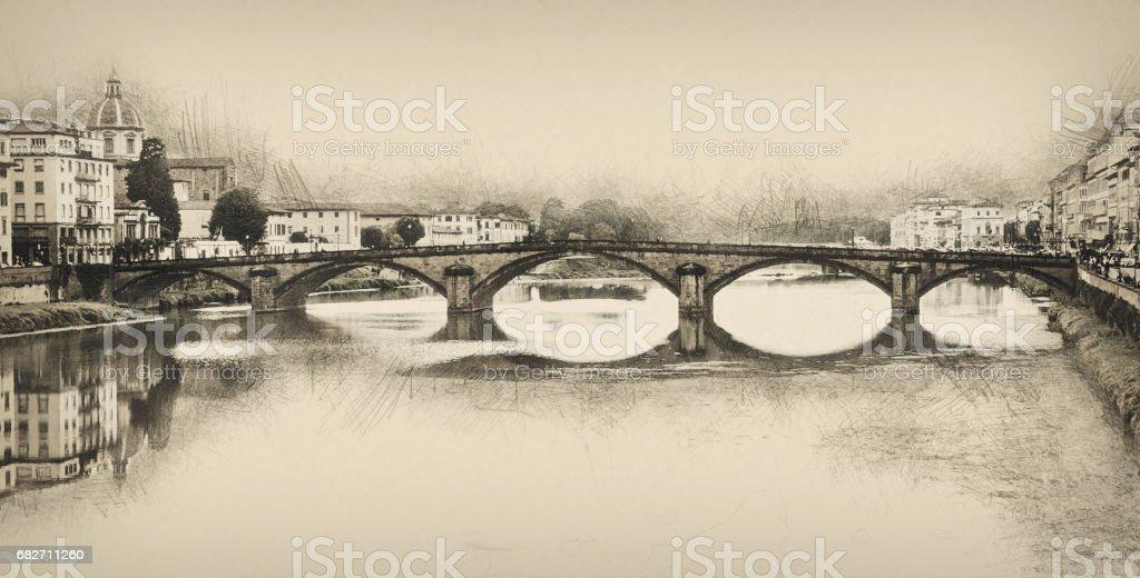 Ponte Santa Trinita, Florence, Italy, pencil drawing vector art illustration