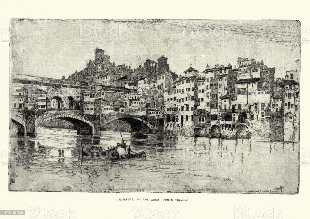 Ponte Vecchio, Florence, Italy, 19th Century vector art illustration