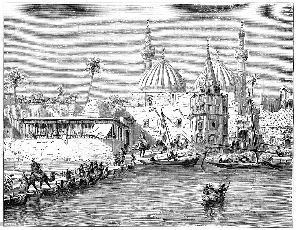 Pontoon bridge of boats in Baghdad (1882 engraving) vector art illustration