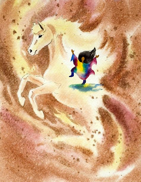 Pony And Girl Dancing vector art illustration