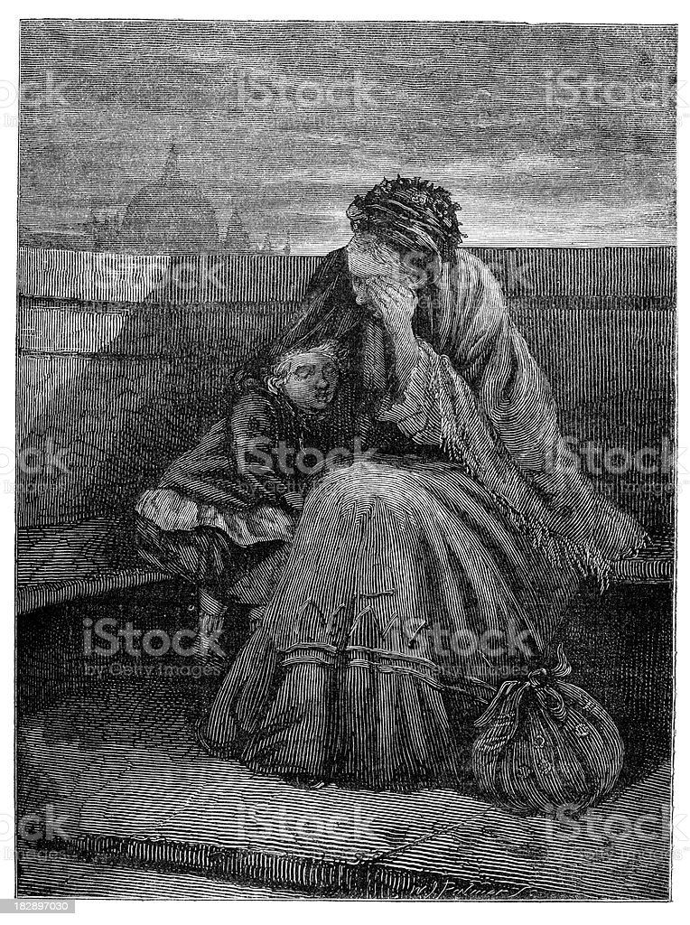 Poor Grandmother and Grandchild royalty-free poor grandmother and grandchild stock vector art & more images of 19th century
