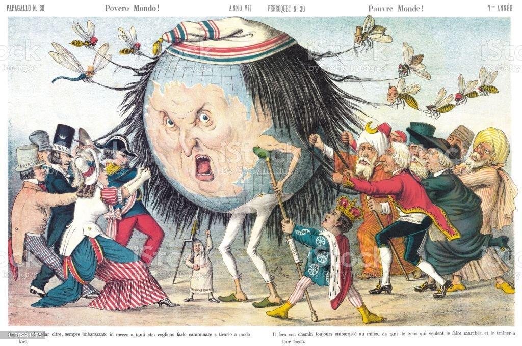 Poor World Satirical Cartoon Weekly Of 1879 Stock Illustration