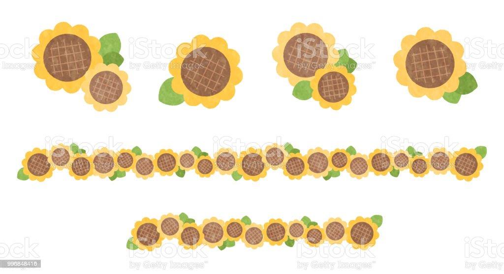 Pop sunflower icon and line set vector art illustration