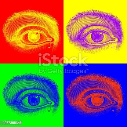 istock Pop-Art style multiple image illustration derived from antique illustrations: Anatomy, human eye 1277355345
