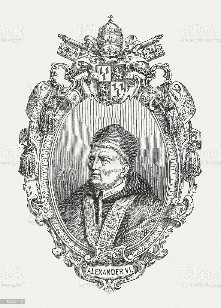 Pope Alexander VI (1431 - 1503), published in 1878 vector art illustration