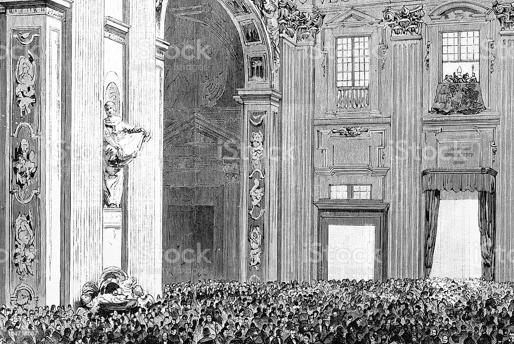 Papa benediction Basílica do Vaticano - ilustração de arte em vetor