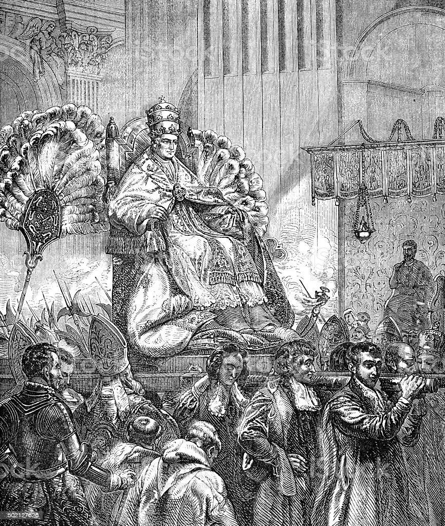 Papa transportados no St Peters Church no dia de Páscoa - ilustração de arte em vetor