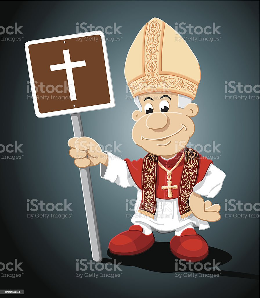 Pope Cartoon Man Church Sign royalty-free pope cartoon man church sign stock vector art & more images of adult