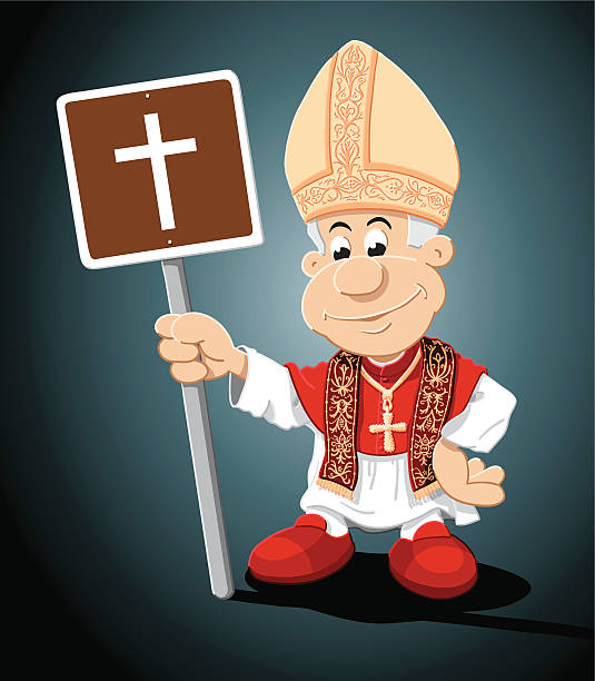 "Pope Cartoon Man Church Sign ""Vector Illustration of a cartoon pope, who is holding a brown sign with a cross. The background is on a separate layer, so you can use the illustration on your own background. The colors in the .eps-file are ready for print (CMYK). Included files: EPS (v8) and Hi-Res JPG."" cartoon people sign stock illustrations"