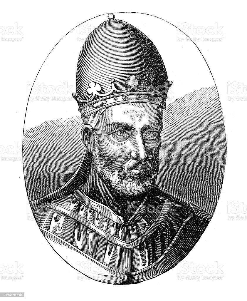 Pope Honorius III vector art illustration