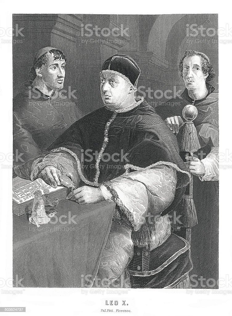 Pope Leo X. (antique engraving after painting by Raphael) vector art illustration