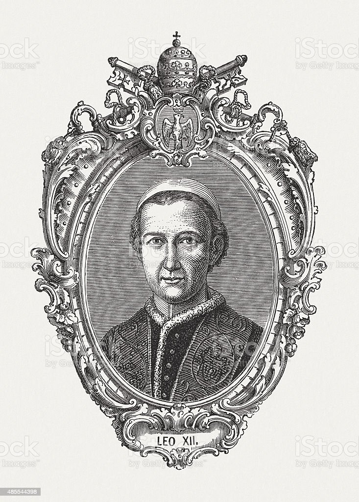 Pope Leo XII (1760 - 1829), published in 1878 vector art illustration