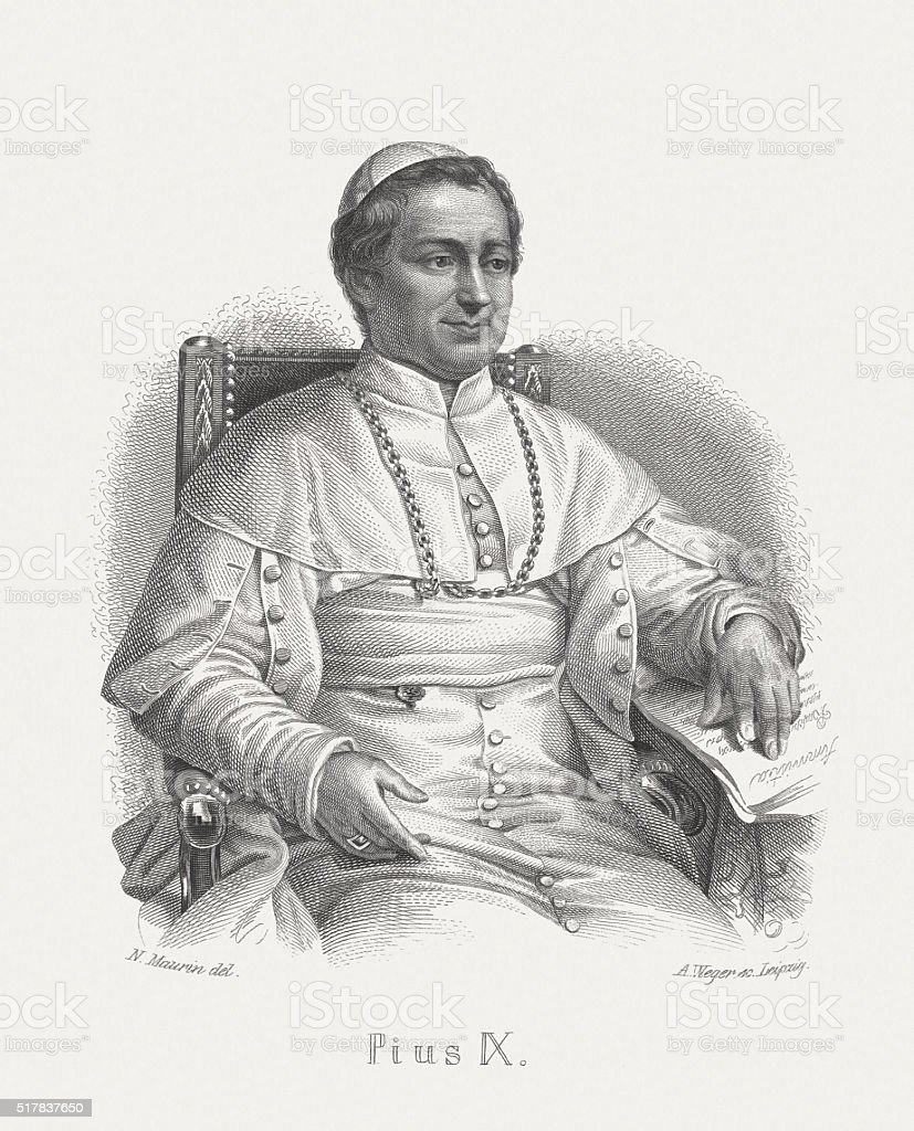 Pope Pius IX (1792-1878), steel engraving, published in 1868 vector art illustration