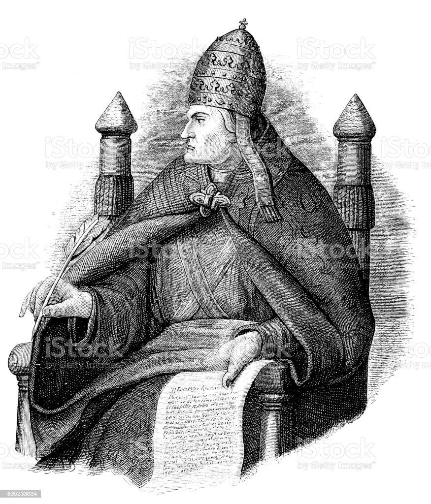Pope St. Gregory VII (c.1020-1085) vector art illustration
