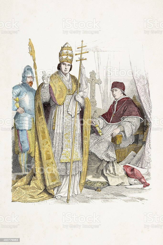 Pope with swiss gard in traditional costumes from 17th century vector art illustration