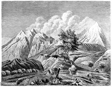 "istock Popocatépetl and Iztaccíhuatl refers to the volcanoes Popocatépetl (""the Smoking Mountain"") and Iztaccíhuatl (""white woman"" in Nahuatl, sometimes called the Mujer Dormida ""sleeping woman"" in Spanish) in Izta-Popo Zoquiapan National Park 1290553630"