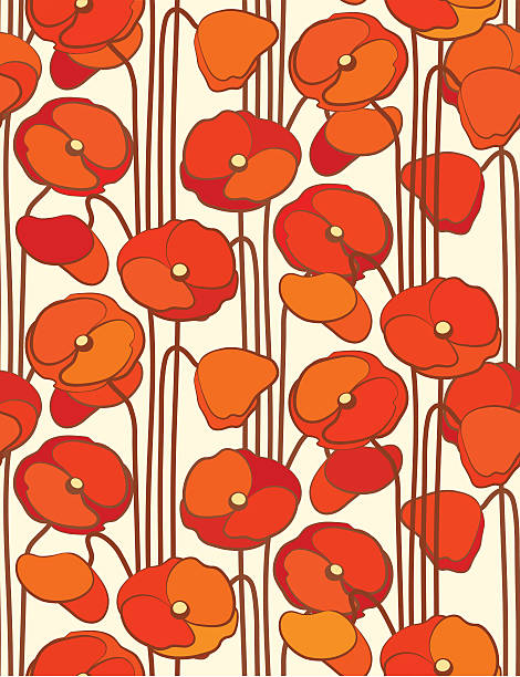 poppies. seamless floral background. - art nouveau stock illustrations, clip art, cartoons, & icons