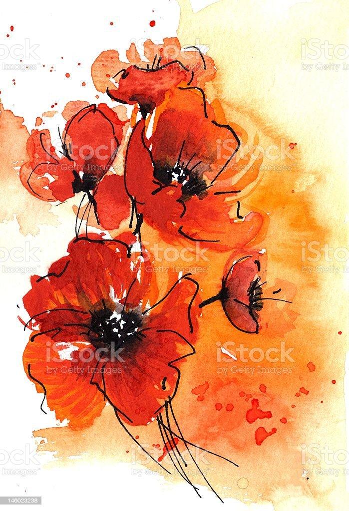 Poppy Illustration  - Mohnblumen Aquarell royalty-free stock vector art