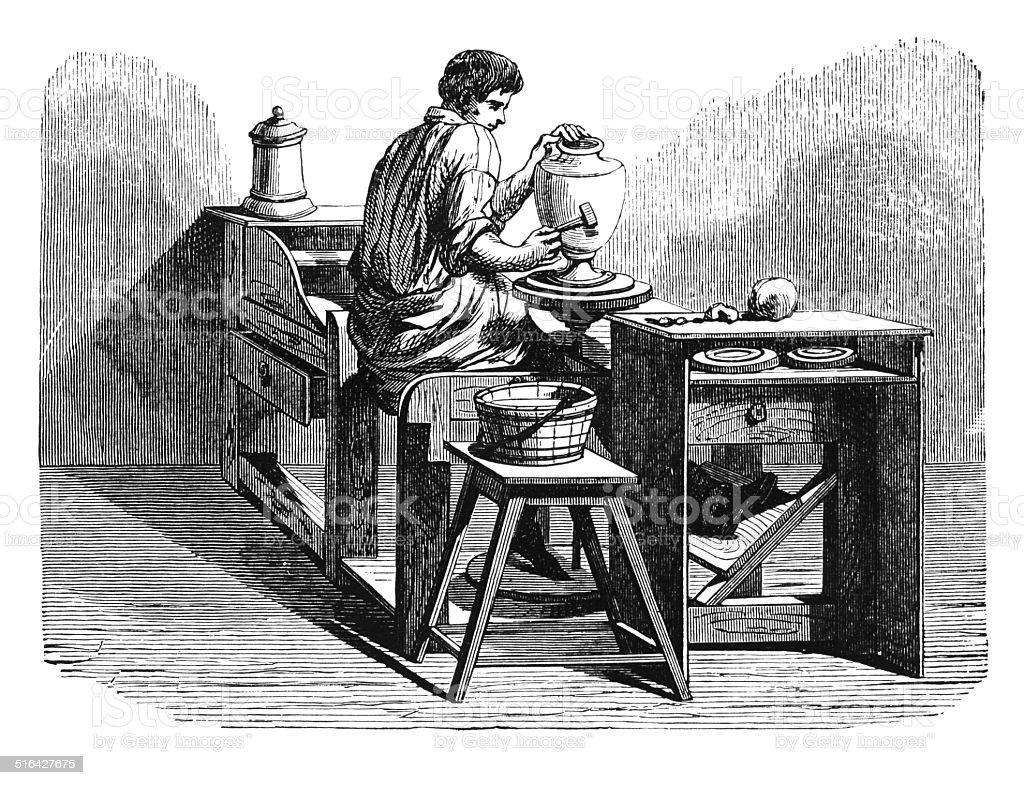 Plato de porcelana en potter's antique rueda (grabado) - ilustración de arte vectorial