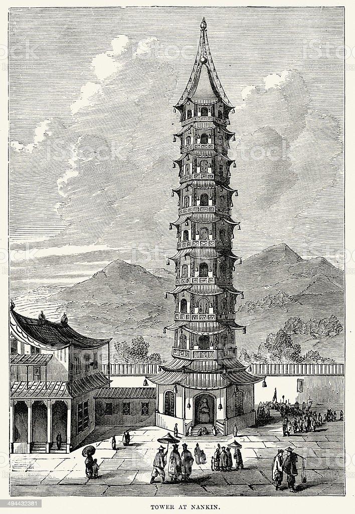 Porcelain Tower of Nanjing vector art illustration