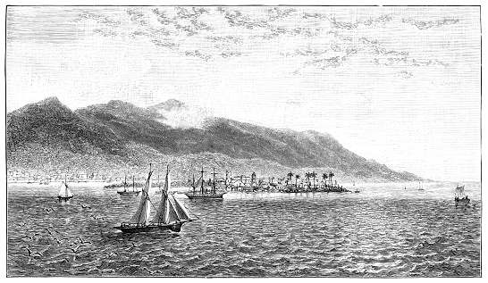 The city of Port Royal on the island of Jamaica in the Caribbean. Vintage etching circa 19th century. In 1907 an earthquake liquified the sand and most of the city was destroyed.