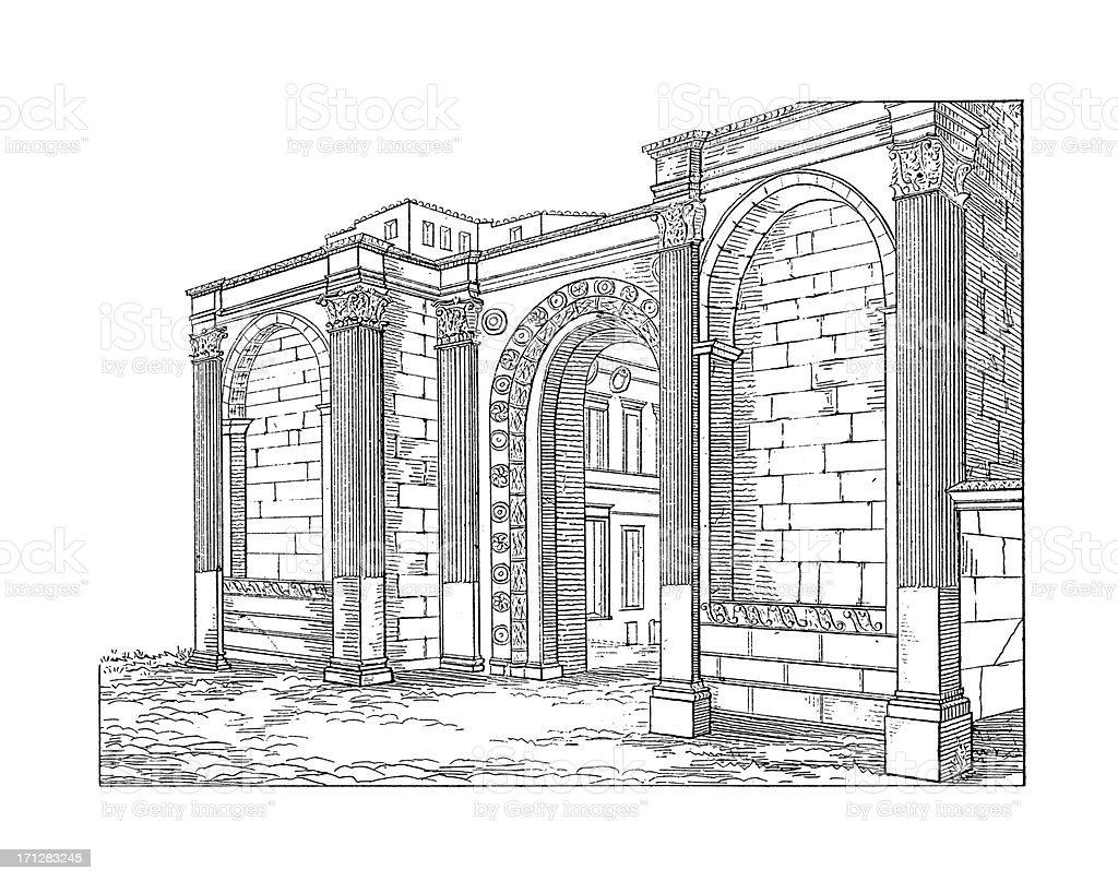 Porta San Pietro, Perugia, arquitetura antiga Itália/ilustrações - ilustração de arte em vetor
